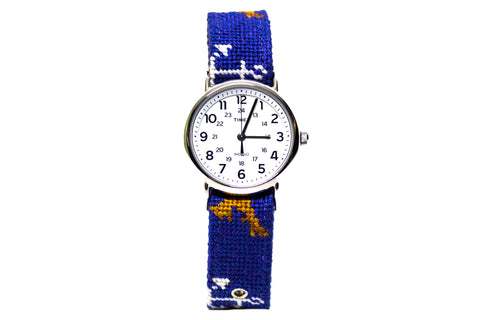 Anchor Golden Retriever needlepoint watch strap by Asher Riley