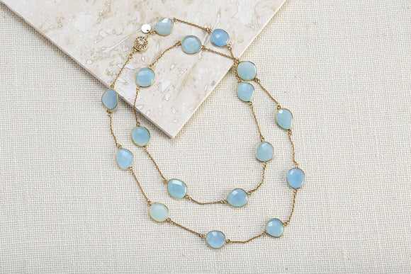 Semi-Precious Gemstone Bezel-Set Necklace