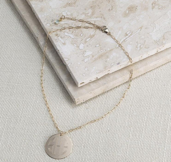 Monogrammed Round Disc Necklace