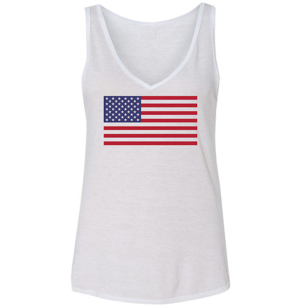 Ladies 4th of July Vneck Tank- American Flag