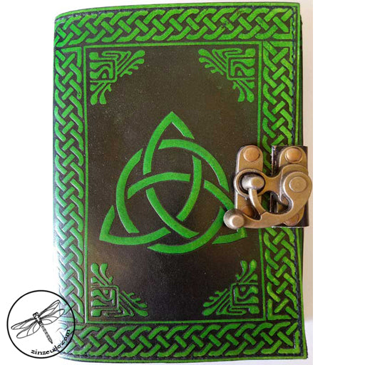Black & Green Triquetra Leather Journal