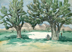 Desert Golf Course, California art by Art Riley. HD giclee art prints for sale at CaliforniaWatercolor.com - original California paintings, & premium giclee prints for sale