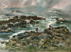 Fisherman at 17 Mile Drive, California art by Art Riley. HD giclee art prints for sale at CaliforniaWatercolor.com - original California paintings, & premium giclee prints for sale