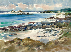 Mid Day Carmel, California art by Art Riley. HD giclee art prints for sale at CaliforniaWatercolor.com - original California paintings, & premium giclee prints for sale