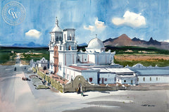 Mission San Xavier del Bac, California art by Art Riley. HD giclee art prints for sale at CaliforniaWatercolor.com - original California paintings, & premium giclee prints for sale