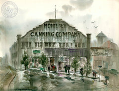 Monterey Canning Company, California art by Art Riley. HD giclee art prints for sale at CaliforniaWatercolor.com - original California paintings, & premium giclee prints for sale
