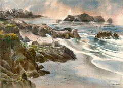 Rocks & Beach, California art by Art Riley. HD giclee art prints for sale at CaliforniaWatercolor.com - original California paintings, & premium giclee prints for sale