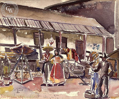 Olvera St., LA, California art by Ben Messick. HD giclee art prints for sale at CaliforniaWatercolor.com - original California paintings, & premium giclee prints for sale