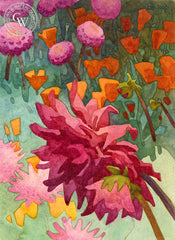 August Dahlia, 2017, a California watercolor painting by Carolyn Lord. HD giclee art prints for sale at CaliforniaWatercolor.com - original California paintings, & premium giclee prints for sale
