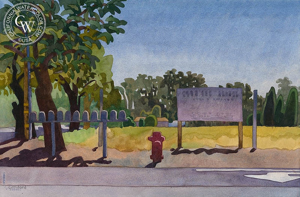 Courtesy Notice, 2005, California art by Carolyn Lord. HD giclee art prints for sale at CaliforniaWatercolor.com - original California paintings, & premium giclee prints for sale