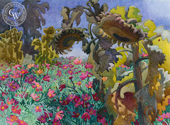 Eclipsed Sunflowers, 2010, California art by Carolyn Lord. HD giclee art prints for sale at CaliforniaWatercolor.com - original California paintings, & premium giclee prints for sale