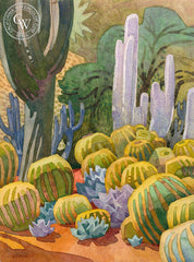Gary's Cactus Collection, 2013, a California watercolor painting by Carolyn Lord. HD giclee art prints for sale at CaliforniaWatercolor.com - original California paintings, & premium giclee prints for sale