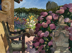 Harry's Bench, 1984, California art by Carolyn Lord. HD giclee art prints for sale at CaliforniaWatercolor.com - original California paintings, & premium giclee prints for sale
