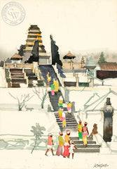 Besakih Temple, Bali, c. 1978, California art by Dong Kingman. HD giclee art prints for sale at CaliforniaWatercolor.com - original California paintings, & premium giclee prints for sale