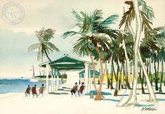 Hawaii Beachfront, c. 1976, California art by Dong Kingman. HD giclee art prints for sale at CaliforniaWatercolor.com - original California paintings, & premium giclee prints for sale