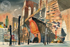 Junks Under the Brooklyn Bridge, 1952, California art by Dong Kingman. HD giclee art prints for sale at CaliforniaWatercolor.com - original California paintings, & premium giclee prints for sale