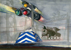 Railroad X-ing, c. 1942, California art by Dong Kingman. HD giclee art prints for sale at CaliforniaWatercolor.com - original California paintings, & premium giclee prints for sale