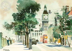 Thames Embankment with Big Ben, London, c. 1965, California art by Dong Kingman. HD giclee art prints for sale at CaliforniaWatercolor.com - original California paintings, & premium giclee prints for sale