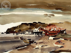The Red Boat, c. 1939, California art by Dong Kingman. HD giclee art prints for sale at CaliforniaWatercolor.com - original California paintings, & premium giclee prints for sale