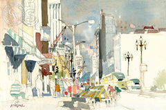 The Ups and Downs of Market Street, S.F., 1972, California art by Dong Kingman. HD giclee art prints for sale at CaliforniaWatercolor.com - original California paintings, & premium giclee prints for sale
