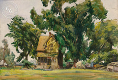 California Homestead, c. 1930's, California art by Emil Kosa Jr.. HD giclee art prints for sale at CaliforniaWatercolor.com - original California paintings, & premium giclee prints for sale