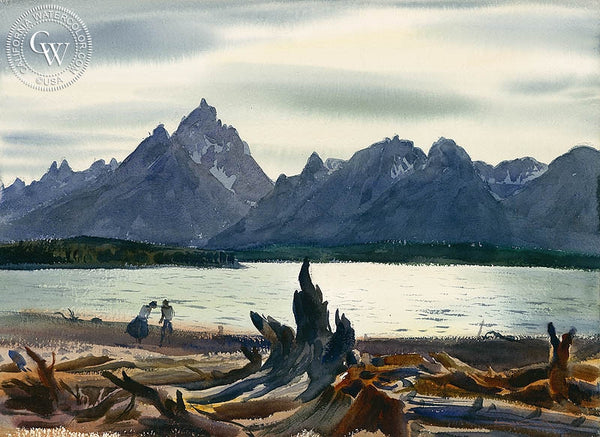 Mountain Lake, c. 1930's, California art by Emil Kosa Jr.. HD giclee art prints for sale at CaliforniaWatercolor.com - original California paintings, & premium giclee prints for sale