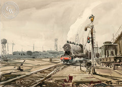 Train Yard, a California watercolor painting by Emil Kosa Jr.. HD giclee art prints for sale at CaliforniaWatercolor.com - original California paintings, & premium giclee prints for sale