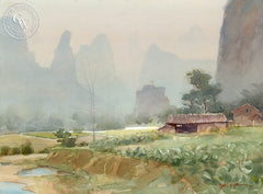 Li River Valley, China, California art by Frank LaLumia. HD giclee art prints for sale at CaliforniaWatercolor.com - original California paintings, & premium giclee prints for sale