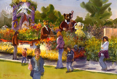 Rose Bowl Parade, California art by Frank LaLumia. HD giclee art prints for sale at CaliforniaWatercolor.com - original California paintings, & premium giclee prints for sale