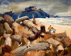 George Gibson - Untitled Beach Scene - California art - fine art print for sale, giclee watercolor print - Californiawatercolor.com