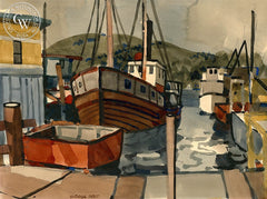 Harbor, California art by George Post. HD giclee art prints for sale at CaliforniaWatercolor.com - original California paintings, & premium giclee prints for sale