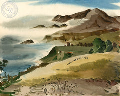 Pebble Beach, 1942, California art by George Post. HD giclee art prints for sale at CaliforniaWatercolor.com - original California paintings, & premium giclee prints for sale