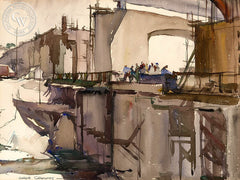 Bridge Construction, 1932, California art by Hardie Gramatky. HD giclee art prints for sale at CaliforniaWatercolor.com - original California paintings, & premium giclee prints for sale