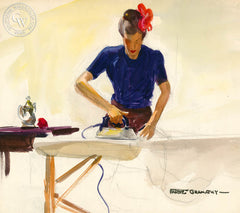 Dops Ironing, 1948, California art by Hardie Gramatky. HD giclee art prints for sale at CaliforniaWatercolor.com - original California paintings, & premium giclee prints for sale
