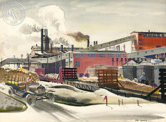 Industrial Scene, c. 1930s, California art by Hardie Gramatky. HD giclee art prints for sale at CaliforniaWatercolor.com - original California paintings, & premium giclee prints for sale
