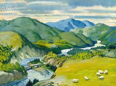 Spey River Valley, 1951, California art by Hardie Gramatky. HD giclee art prints for sale at CaliforniaWatercolor.com - original California paintings, & premium giclee prints for sale