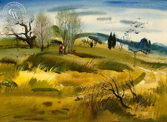 The Fields, 1954, California art by Hardie Gramatky. HD giclee art prints for sale at CaliforniaWatercolor.com - original California paintings, & premium giclee prints for sale