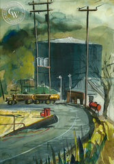 Newhall Refinery, California art by Herbert L. Kornfeld. HD giclee art prints for sale at CaliforniaWatercolor.com - original California paintings, & premium giclee prints for sale