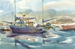 Harbor Near Cambria, California watercolor art by Hugh Duncan. HD giclee art prints for sale at CaliforniaWatercolor.com - original California paintings, & premium giclee prints for sale