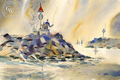 Rock Fishing, Corona del Mar, California art by Hugh Duncan. HD giclee art prints for sale at CaliforniaWatercolor.com - original California paintings, & premium giclee prints for sale