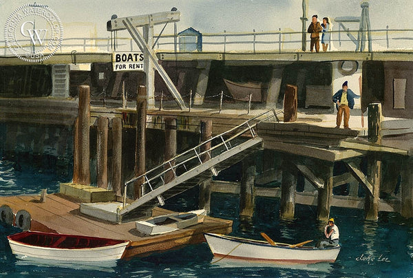 Boats for Rent, California art by Jake Lee. HD giclee art prints for sale at CaliforniaWatercolor.com - original California paintings, & premium giclee prints for sale