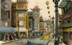 Chinatown, c. 1940's, California watercolor art by Jake Lee. HD giclee art prints for sale at CaliforniaWatercolor.com - original California paintings, & premium giclee prints for sale