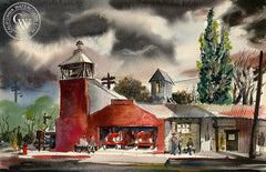 Fire Station, California art by Jake Lee. HD giclee art prints for sale at CaliforniaWatercolor.com - original California paintings, & premium giclee prints for sale