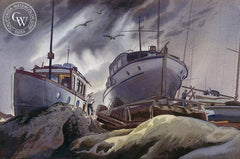 Approaching Storm, 1938, California art by James Hollins Patrick. HD giclee art prints for sale at CaliforniaWatercolor.com - original California paintings, & premium giclee prints for sale