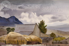 Farm in Provo, Utah, 1939, California art by James Hollins Patrick. HD giclee art prints for sale at CaliforniaWatercolor.com - original California paintings, & premium giclee prints for sale