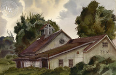 Old Barn, New York, 1939, California art by James Hollins Patrick. HD giclee art prints for sale at CaliforniaWatercolor.com - original California paintings, & premium giclee prints for sale