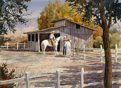 Saddle Up, California art by John Bohnenberger. HD giclee art prints for sale at CaliforniaWatercolor.com - original California paintings, & premium giclee prints for sale