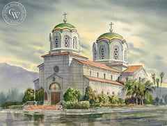 St. Stephen Serbian Orthodox Church, Monterey Park, CA, California watercolor art by John Bohnenberger. HD giclee art prints for sale at CaliforniaWatercolor.com - original California paintings, & premium giclee prints for sale