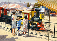 The Choo Choo Train, Griffith Park, L.A., California art by John Bohnenberger. HD giclee art prints for sale at CaliforniaWatercolor.com - original California paintings, & premium giclee prints for sale