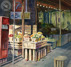 The Produce Mart, California art by John Bohnenberger. HD giclee art prints for sale at CaliforniaWatercolor.com - original California paintings, & premium giclee prints for sale